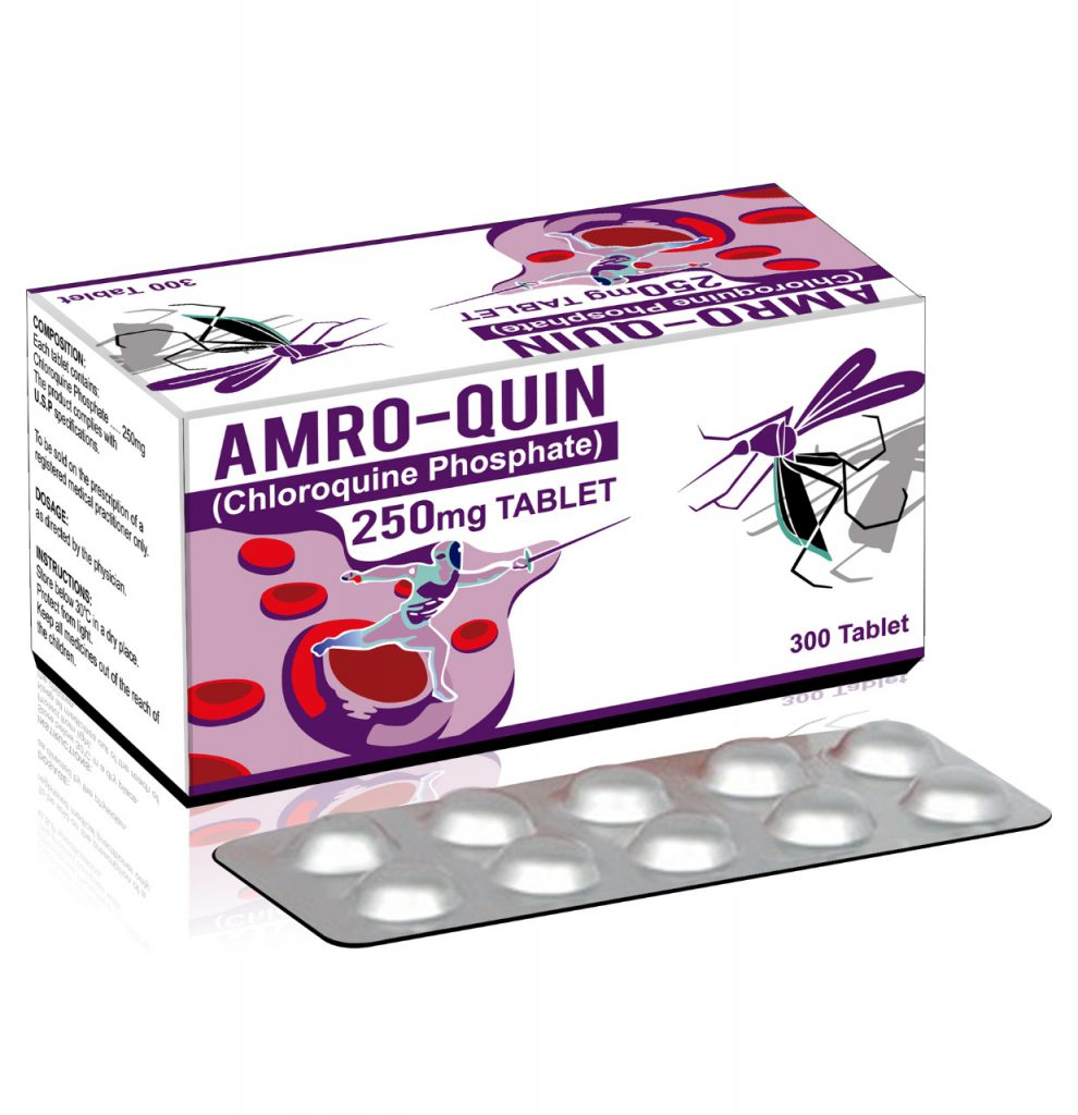 Amro-Quin 250mg Tablet (Chloroquine Phosphate 250mg) 300 Tablets.